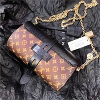 LV hot selling casual shoulder bag fashionable printed patchwork bucket shopping bag with flip lid