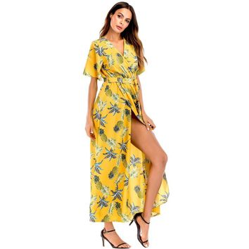 Pineapple Print Self Tie Waist Dress