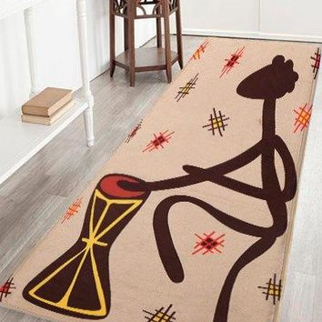 Beat A Drum Figure Water Absorption Flannel Antislip African Rug