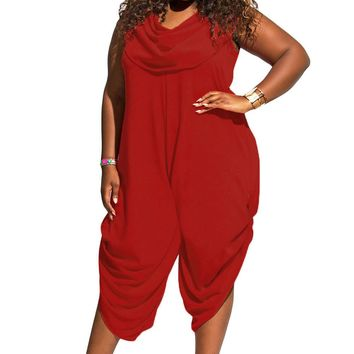 Red Sexy Cowl Neck Plus Size Loose Fitted Harem Jumpsuit