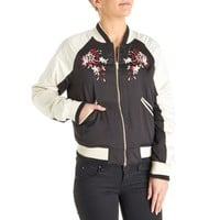 Embroidered Satiny Bomber Jacket - Juniors 275815262