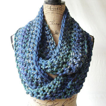 New Peacock Blue Green Purple Gold Chunky Scarf Fall Winter Women's Accessory Infinity