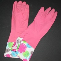 Glamour Rubber Gloves Colorful Dots (Yellow, Blue or Pink) (L, Pink)