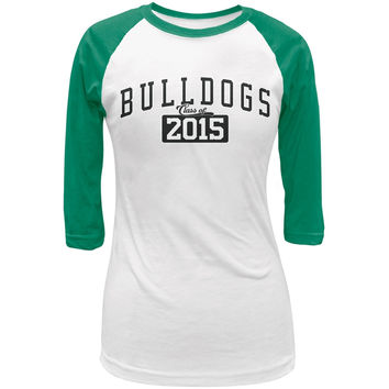 Graduation - Bulldogs Class of 2015 White/Kelly Green Juniors 3/4 Raglan T-Shirt