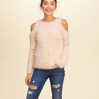 Cold Shoulder Fluffy Sweater