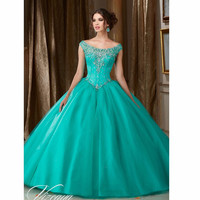 Gorgeous Turquoise Quinceanera Dresses Scoop Beaded 2016 ball gown prom dresses pageant gown sweet 16 dress vestido de festa