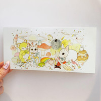 Super cute postcard!  Bunnies and bears and sweets.