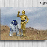 star wars poster c3po and r2d2 print nursery decor