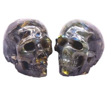 Skull Skulls Halloween Fall 1pieces quality labradorite stone carvings of the crystal  heal natural stones and minerals Calavera