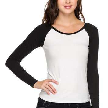 Long Sleeve Two Tone Baseball Tee