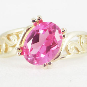 Pink Sapphire 14k Yellow Gold Oval Filigree Ring, Solid 14 Karat Gold Ring, 14k Gold Pink Sapphire Oval Ring, September Birthstone Ring