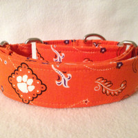 "Clemson University Martingale or Quick Release Collar 1.5"" Martingale Collar or 2"" Martingale Collar"