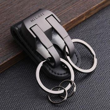 Milesi   Brand Men Keychain Belt Clip Pull Auto Lock Key Chain Double Ring Men Car Key Holder Novelty Trinket Genuine Leather