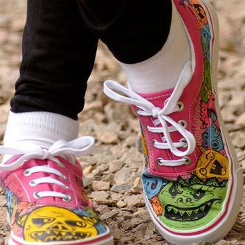 Painted Doodles - Custom Sneakers. Personalized Shoes with Funky Monsters.