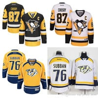 Men's NHL Nashville Predators PK Subban hockey jerseys Pittsburgh Penguins Sidney Crosby Player Jersey 100% stitched