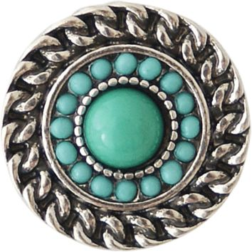 Chunk Snap Charm Antique Rope Border Turquoise Center 20mm