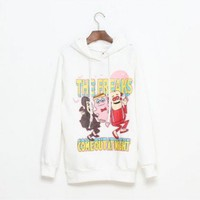 Elastane White long sleeve V-neck big cartoon print straight-type fleece hooded hoodie   style zz90902501 in  Indressme