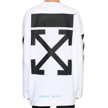Off White Autumn And Winter New Arrow Striped Crewneck Sweater White