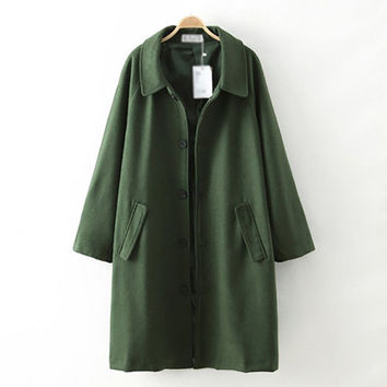 Army Green Single Breast Pocket Coat