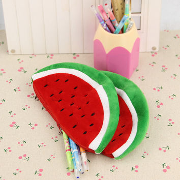 1pcs Plush Watermelon Pencil Bag Creative Novelty Cute Large Capacity Stationery Storage Bags School Supplies