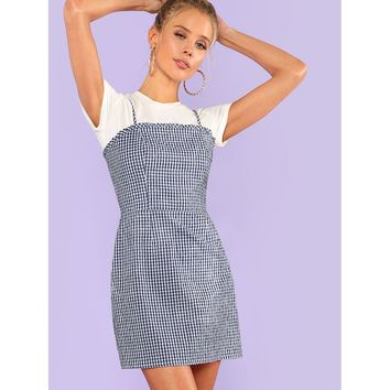 Frill Detail Gingham Cami Dress Blue