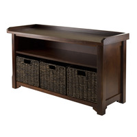 Winsome Granville Storage Bench with 3-Foldable Baskets