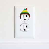Buddy the Elf - Christmas Holiday Electric Outlet Wall Art Sticker - Removable