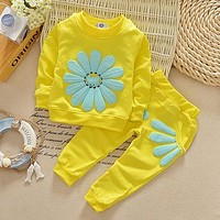 Spring autumn children clothing set baby girls sports suit sunflower casual costume baby clothes girl clothing