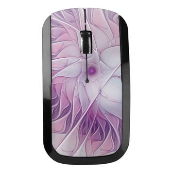 Beautiful Pink Flower Modern Abstract Fractal Art Wireless Mouse