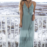What About Love Sage Ruffle Maxi Dress