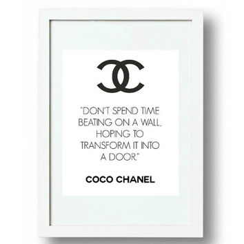 Chanel Wall Art, Chanel Logo Sign, cc Logo, Coco Chanel Quote, Thinner Print A4, High Res. jpg and pdf,  PLUS FREE GIFT