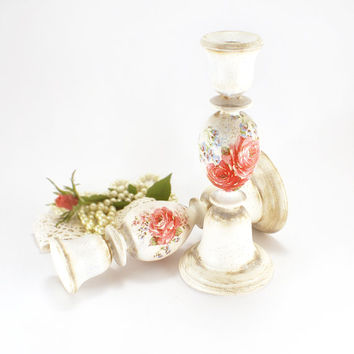 Large Candles Holders Shabby Cottage Chic Roses , French style 2 Candles Holders
