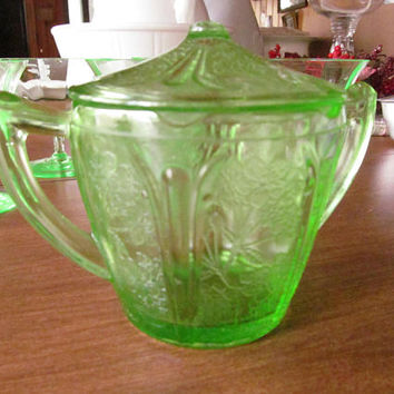 Uranium Glass Green Depression Glass Sugar Bowl with Lid Art Deco Glassware Green Depression Sugar Bowl