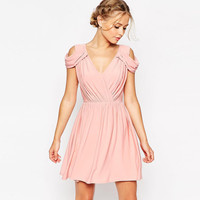Ruched Wrap V-Neck Cutout Shoulder  Swing Mini Dress