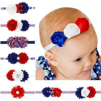 ESBHY3 American Flag Headband Red white Blue Headbands USA Hair Band Bandeau July 4th Fashion Accessory Baby Girl Hairbow 1pc HB534