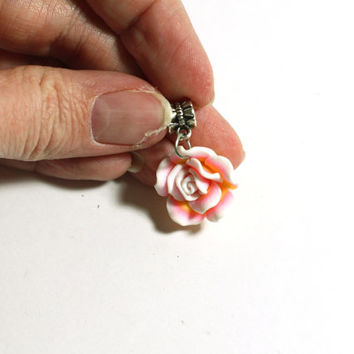 Pink, Yellow, and White Small Clay Rose Flower Pendant Bead on Bail - Jewelry Supplies - Jewelry Making