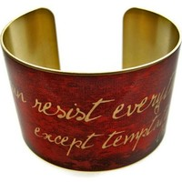 "Oscar Wilde Vintage Style Brass Cuff Bracelet: ""I can resist everything except temptation"""
