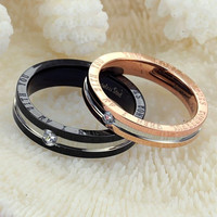 His and Hers Match Rings Set Titanium steel Austrian Rhinestone Couple rings = 1930232004
