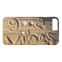 "Fun, ""Good Vibes"" Hand Drawn In Beach Sand Photo iPhone 8 Plus/7 Plus Case"
