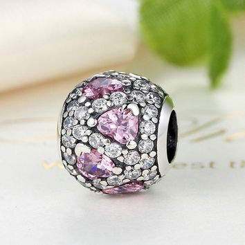 925 Sterling Silver Fancy Pink Heart Pave Ball Charm Beads Fit Original Pandora Bracelet