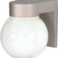 """8"""" Utility Light, Outdoor Wall Light with White Glass Globe"""