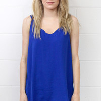 Strappy Satin Side Slit Tanks {Cobalt Blue}
