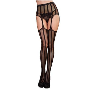 Women Stocking Slim Sexy Striped Lace Top Garter Belt Thigh Pantyhose Pantys
