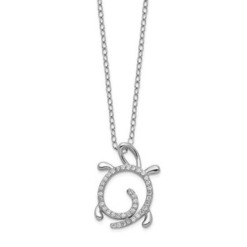 Cheryl M Sterling Silver CZ Turtle Pendant Necklace