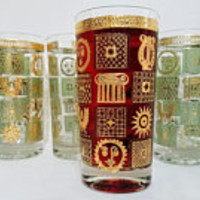 Drinking Glasses Set of Four Green Gold Mid Century Sun Moon Lyre Golden Celeste