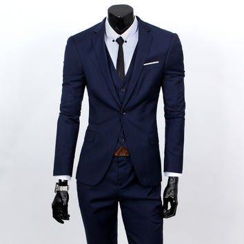 new 2015 men's fashion three-piece formal suits / Men  suit of cultivate one's morality Business gifts(Vest + suit + suit pants)