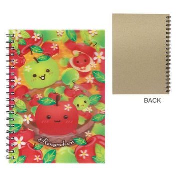 Japanese Kawaii Character 3D Lenticular Notebook (Ringo Chan /Red / Apple)