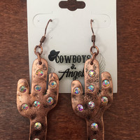 Copper Colored Rhinestone Cactus Earrings