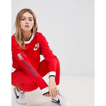 NIKE Women Fashion Long Sleeve Pullover Pants Two-Piece