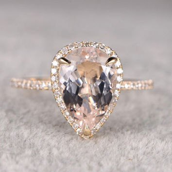 Morganite Halo Engagement Ring With Diamond Yellow Gold 8x12mm Pear Shaped Claw Prongs Promise Band 14k/18k